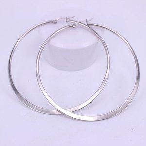 NEW 18K White Gold 2.36'' Round Hoop Earrings